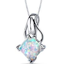 Opal Pendant Necklace Sterling Silver Princess Cut 2.00 Cts SP10956