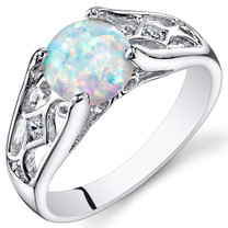 Opal Ring Sterling Silver Round Cabochon 1.25 Cts Sizes 5 to 9 SR11138