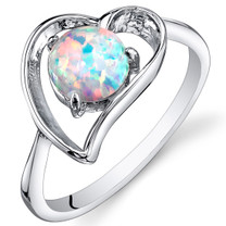 Opal Ring Sterling Silver Heart Design 0.75 Cts Sizes 5 to 9 SR11144