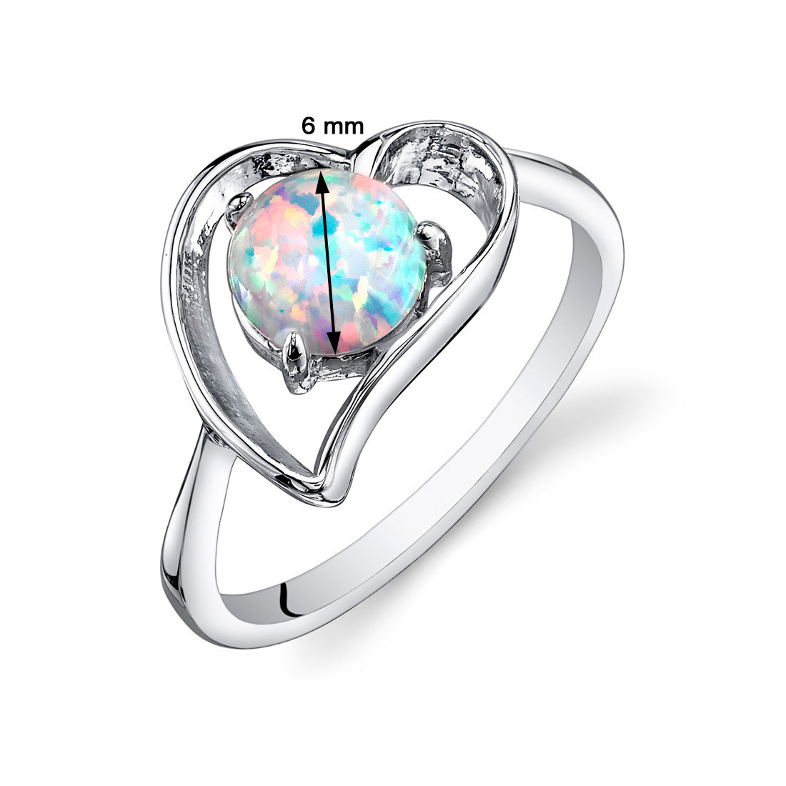 19dc8cd045a18 Opal Ring Sterling Silver Heart Design 0.75 Cts Sizes 5 to 9 SR11144