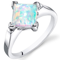 Opal Ring Sterling Silver Princess Cut 1.50 Cts Sizes 5 to 9 SR11150