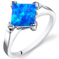 Blue-Green Opal Ring Sterling Silver 1.50 Cts Sizes 5 to 9 SR11152