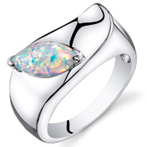 Opal Ring Sterling Silver Marquise Cut 1.00 Cts Sizes 5 to 9 SR11154