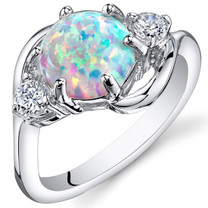 Opal Ring Sterling Silver 3 Stone 1.75 Cts Sizes 5 to 9 SR11156