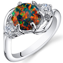 Black Opal Ring Sterling Silver 3 Stone 1.75 Cts Sizes 5 to 9 SR11158