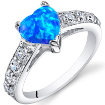 Blue-Green Opal Ring Sterling Silver Heart 1 Cts Sizes 5 to 9 SR11164