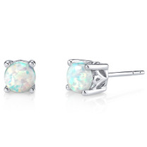 Sterling Silver 1.50 Carats Round Shape Opal Stud Earrings SE8352