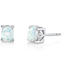 Sterling Silver 1.50 Carats Oval Shape Opal Stud Earrings SE8354