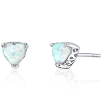 Sterling Silver 1.50 Carats Heart Shape Opal Stud Earrings SE8356
