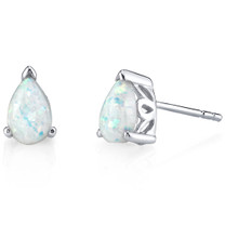 Sterling Silver 1.50 Carats Pear Shape Opal Stud Earrings SE8358