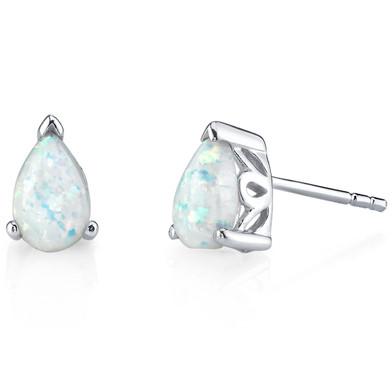 Sterling Silver 1.50 Carats Pear Shape Opal Stud Earrings SE8358