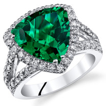 5.00 Carats Emerald Ring In Sterling Silver Sizes 5 to 9 SR11040