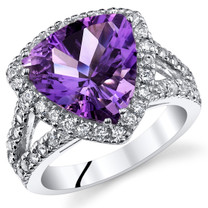 3.75 Cts Amethyst Sterling Silver Ring Sizes 5 to 9 SR11050