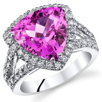5.75 Cts Pink Sapphire Sterling Silver Ring Sizes 5 to 9 SR11052