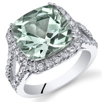 4.75 Cts Green Amethyst Sterling Silver Ring Sizes 5 to 9 SR11094