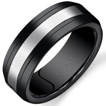Mens 8mm Black Ceramic Cobalt Wedding Band Ring