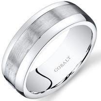 Mens 8mm Cobalt Wedding Band Ring Rounded Brush Finish