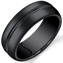 Mens 8mm Black Cobalt Wedding Band Ring Double Groove