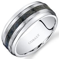 Mens 9mm Cobalt Wedding Band Ring Brush Finish