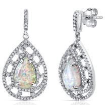 Created Opal Earrings Sterling Silver 2.50 Carats Vintage Pear SE8398