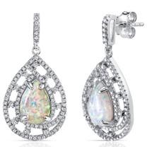 Created Opal Earrings Sterling Silver 2.50 Carats Vintage Pear SE8398