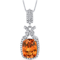5.00 Cts Padparadscha Sapphire Pendant Sterling Silver Cushion SP10976