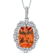 9.00 Cts Padparadscha Sapphire Pendant Sterling Silver Cushion SP10986