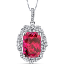 9.00 Cts Ruby Gallery Pendant Sterling Silver Cushion Cut SP10990