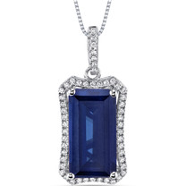 7 Cts Blue Sapphire Pendant Necklace Sterling Silver Octagon SP10992