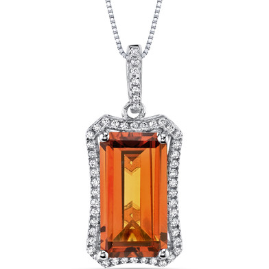 7.00 Cts Padparadscha Sapphire Pendant Sterling Silver Octagon SP10996