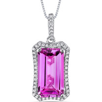 7 Cts Pink Sapphire Pendant Necklace Sterling Silver Octagon SP10998