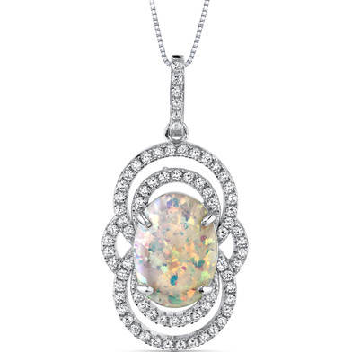 Opal Pendant Necklace Sterling Silver 2.25 Cts Halo Cabochon SP11002