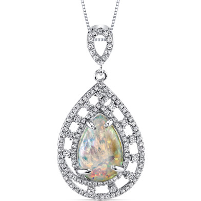 Opal Pendant Necklace Sterling Silver 2.50 Cts Pear Cabochon SP11008