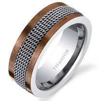 Mens Titanium Coffee Tone Chain Mail Wedding Band Ring 8mm Sizes 7-14