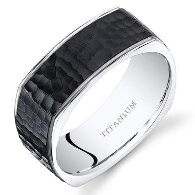 Black Titanium Mens Square Wedding Band Ring 8mm Stippled Finish Sizes 7-14