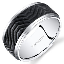 Mens Titanium Wedding Band Ring 10mm Beveled Edges Black Wave Pattern Sizes 7-14