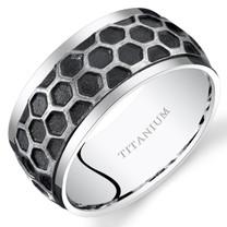 Mens Two Tone Hexagon Pattern Titanium Wedding Band Ring 10mm Sizes 7-14