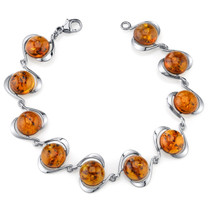 Baltic Amber Elliptical Bracelet Sterling Silver Cognac Color Round Shape SB4378 SB4378