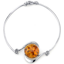 Baltic Amber Solitaire Bangle Bracelet Sterling Silver Cognac Color SB4380 SB4380
