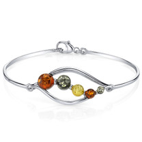 Baltic Amber Open Leaf Bangle Bracelet Sterling Silver Multi Colors SB4384 SB4384