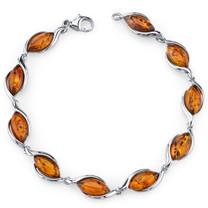 Baltic Amber Bracelet Sterling Silver Cognac Color Marquise Shape SB4390 SB4390