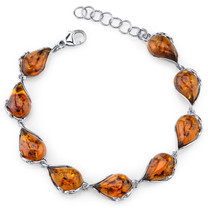 Baltic Amber Bracelet Sterling Silver Cognac Color Tear Drop Shape SB4392 SB4392