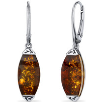 Baltic Amber Gallery Earrings Sterling Silver Cognac Color SE8500 SE8500