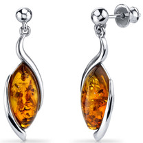 Baltic Amber Earrings Sterling Silver Cognac Color Marquise Shape SE8518 SE8518