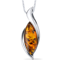 Baltic Amber Pendant Necklace Sterling Silver Cognac Color Bezel Set SP11094 SP11094