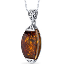 Baltic Amber Gallery Pendant Necklace Sterling Silver Cognac Color SP11098 SP11098