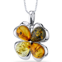 Baltic Amber Clover Pendant Necklace Sterling Silver Honey Olive and Cognac Colors SP11100 SP11100