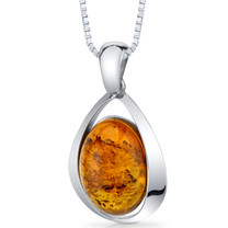 Baltic Amber Large Pendant Necklace Sterling Silver Cognac Color Oval Shape SP11102 SP11102