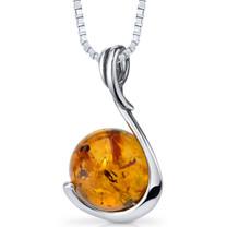 Baltic Amber Sphere Pendant Necklace Sterling Silver Cognac Color SP11106 SP11106
