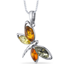 Baltic Amber Butterfly Pendant Necklace Sterling Silver Multiple Colors SP11110 SP11110